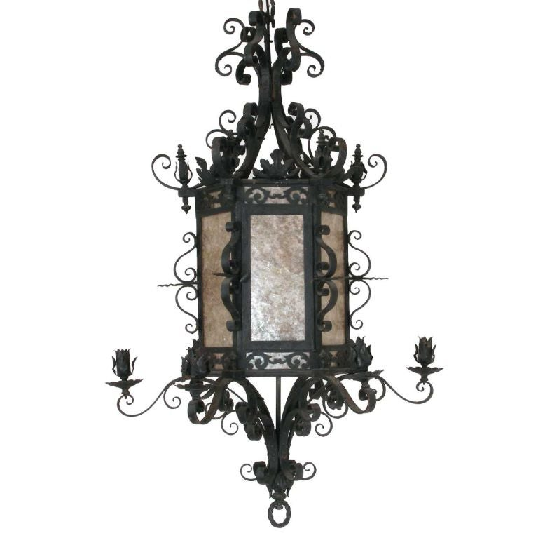 French Hand Forged Iron And Mica Lantern At 1stdibs