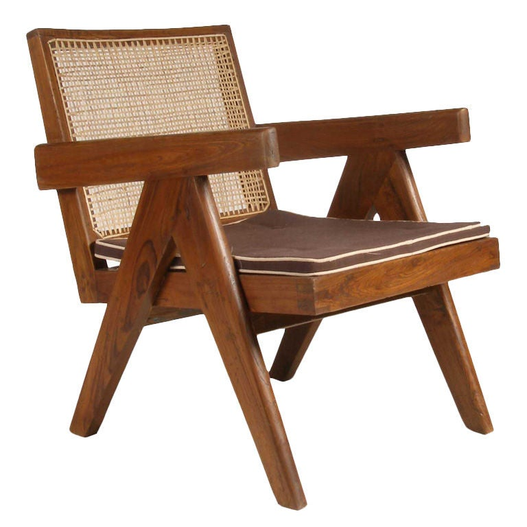 Pierre Jeanneret Caned Teak Easy Chair Chandigarh India