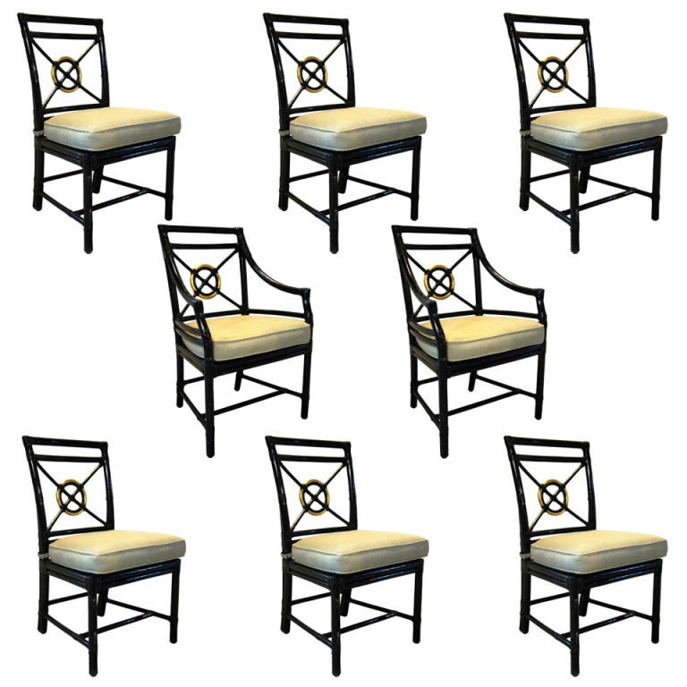 Set of 8 american mcguire black rattan target dining for American rattan furniture manufacturer
