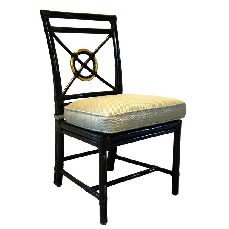 Set of 8 American McGuire Black Rattan Tar Dining Chairs at 1stdibs