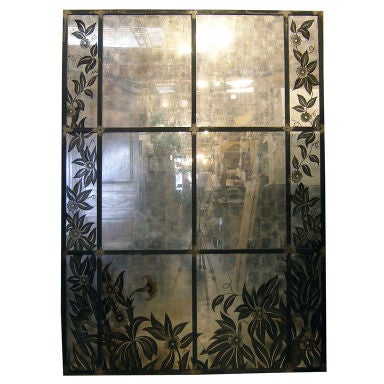 Framed French Art Deco Paneled Mirror