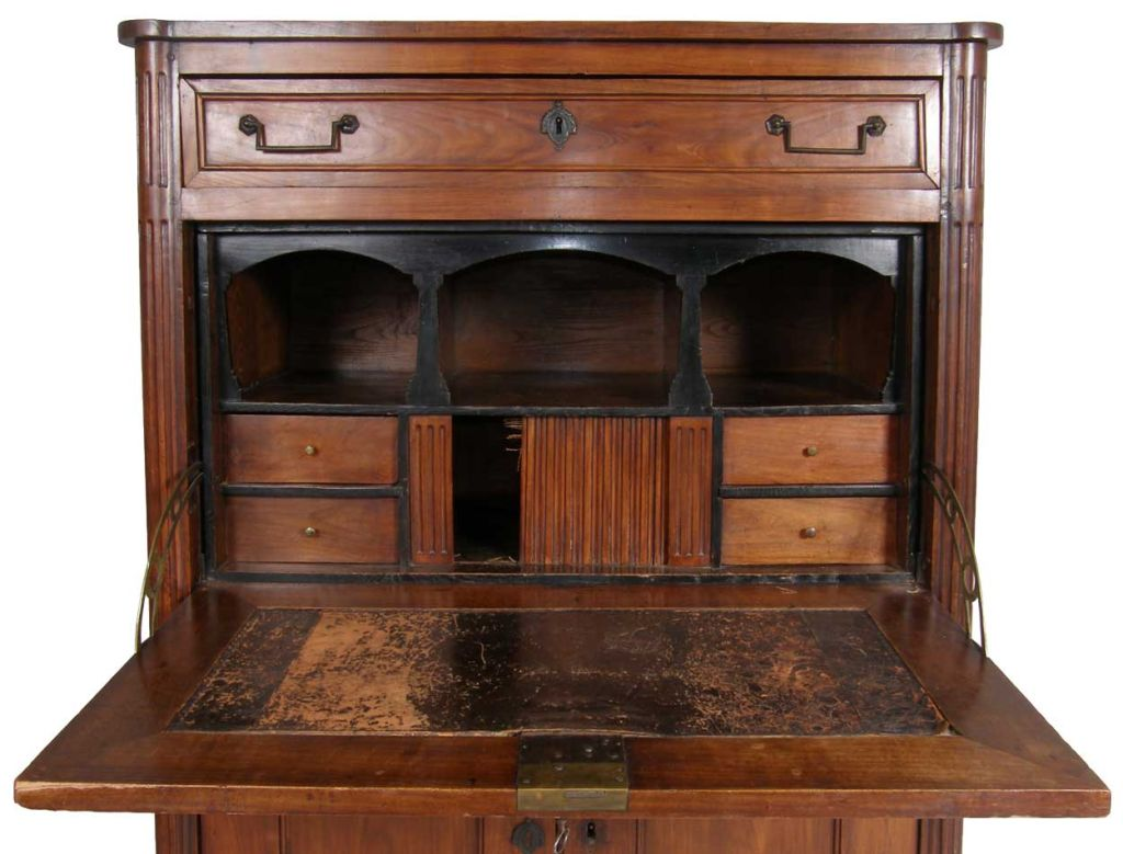 french louis xvi style dark cherry secretaire a abattant at 1stdibs. Black Bedroom Furniture Sets. Home Design Ideas