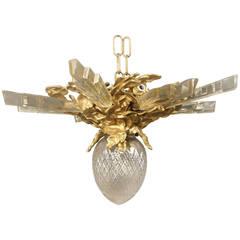 Gilt Bronze and Crystal Plafonnier