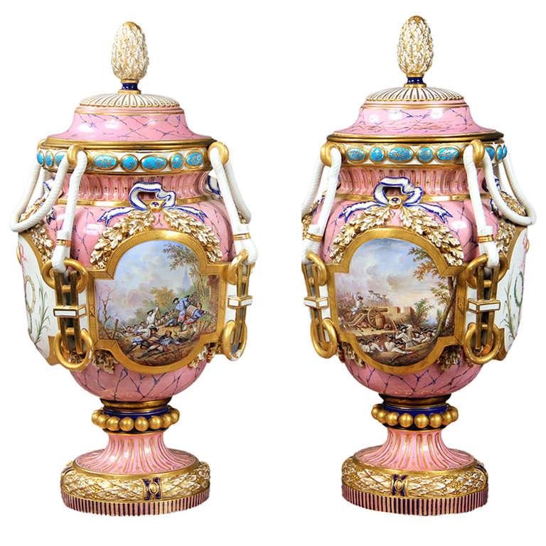 Svres Cobalt And Gilt Bronze Covered Porcelain Palace Urn For Sale