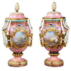 Late 19th Century Pink Sèvres Style Porcelain Vases and Covers