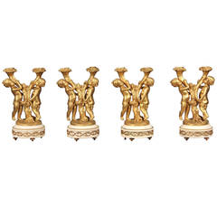Fine Set of Four Late 19th Century Gilt Bronze and Marble, Two-Light Candelabra