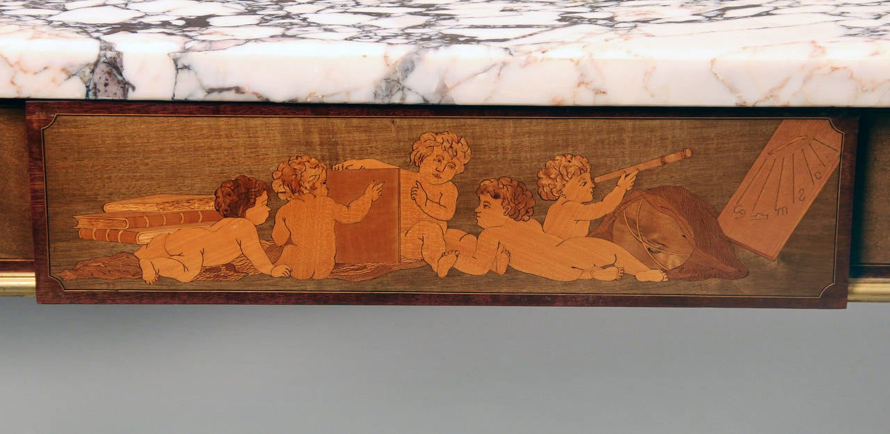 Belle Époque Exceptional Late 19th Century Gilt Bronze-Mounted Marquetry Center Table For Sale