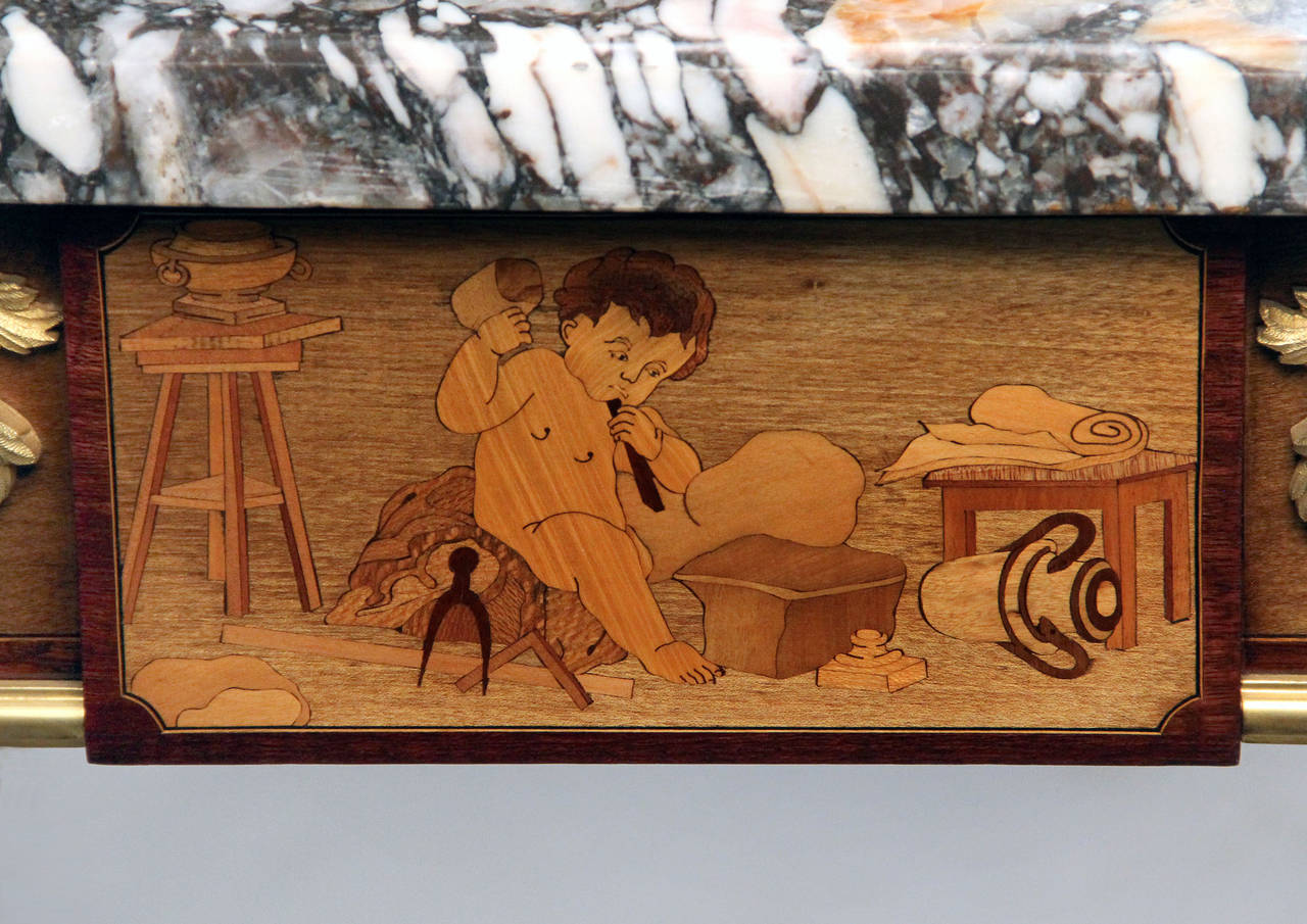 French Exceptional Late 19th Century Gilt Bronze-Mounted Marquetry Center Table For Sale