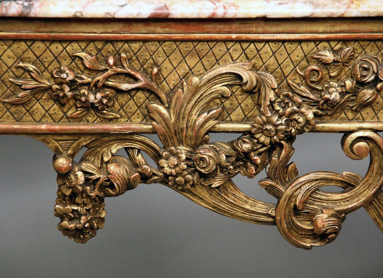 Gilt Fine Late 19th Century Louis XV Style Console Table For Sale
