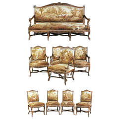 Nine-Piece 19th Century Parcel Gilt Carved Aubusson Tapestry Parlor Set