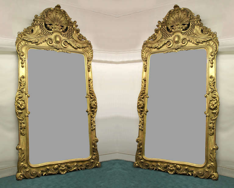 A pair of large and great quality late 19th century hand-carved giltwood mirrors.  The tops shaped as a large shell, with floral designs and intercrossed weaves. The sides and bottom carved with acanthus leaves centered by shells.