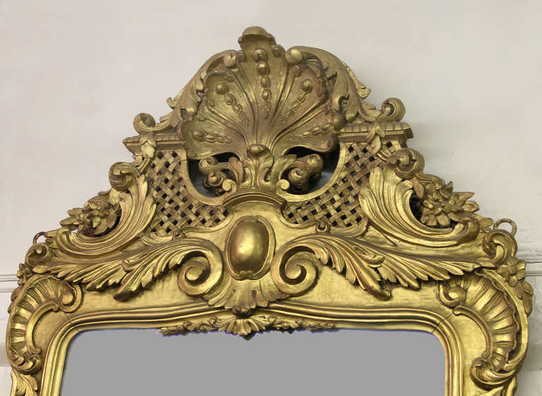 French A Pair of Large and Great Quality Late 19th Century Hand-Carved Giltwood Mirrors For Sale