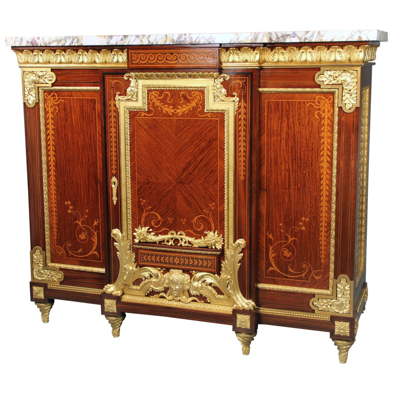 Rare Late 19th Century Gilt Bronze-Mounted Marquetry Cabinet
