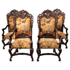 Set of Four 19th Century Large, Hand-Carved Wood High Back Armchairs