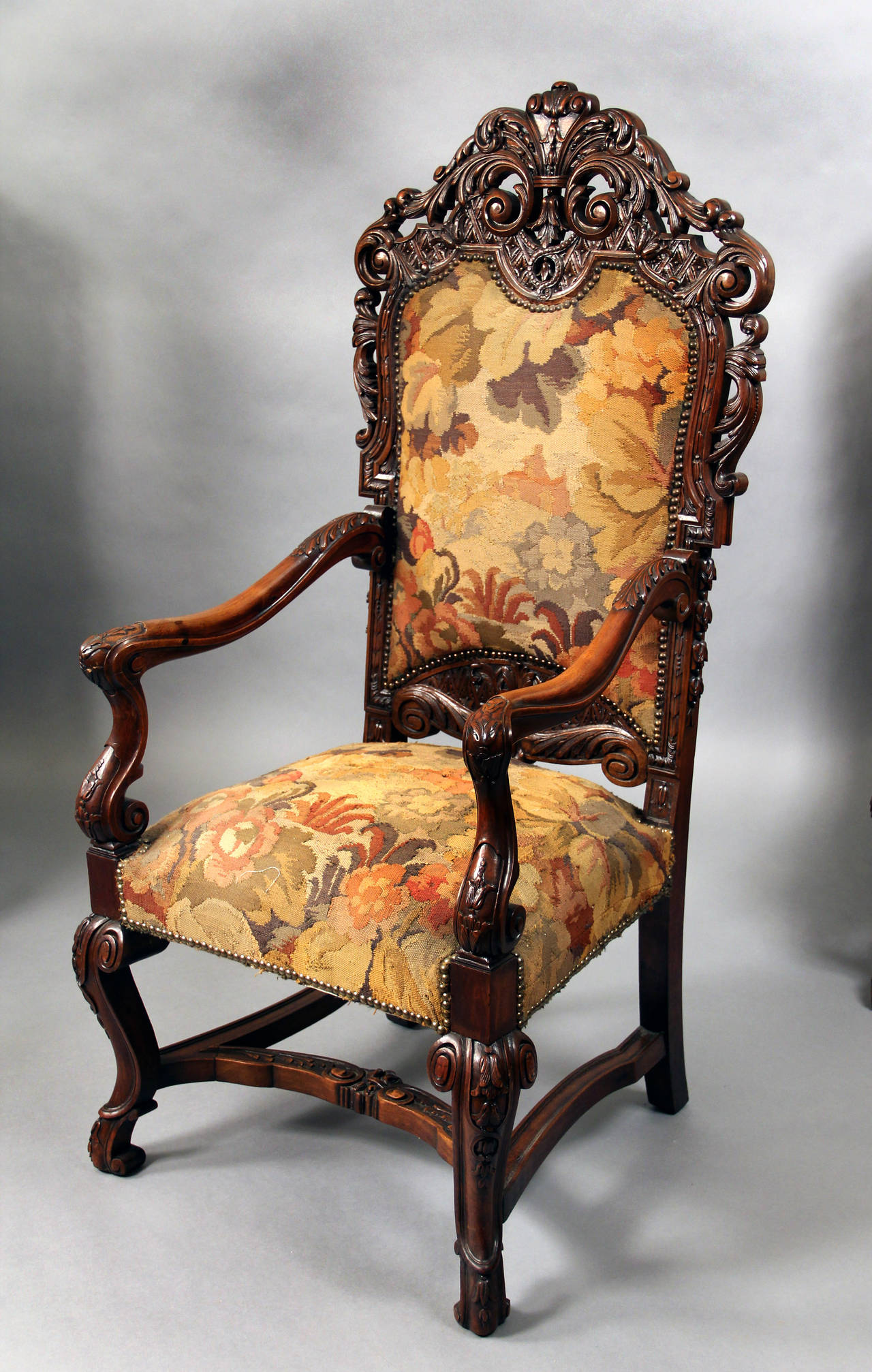Set of four 19th century large hand carved wood high back for Oversized armchairs for sale