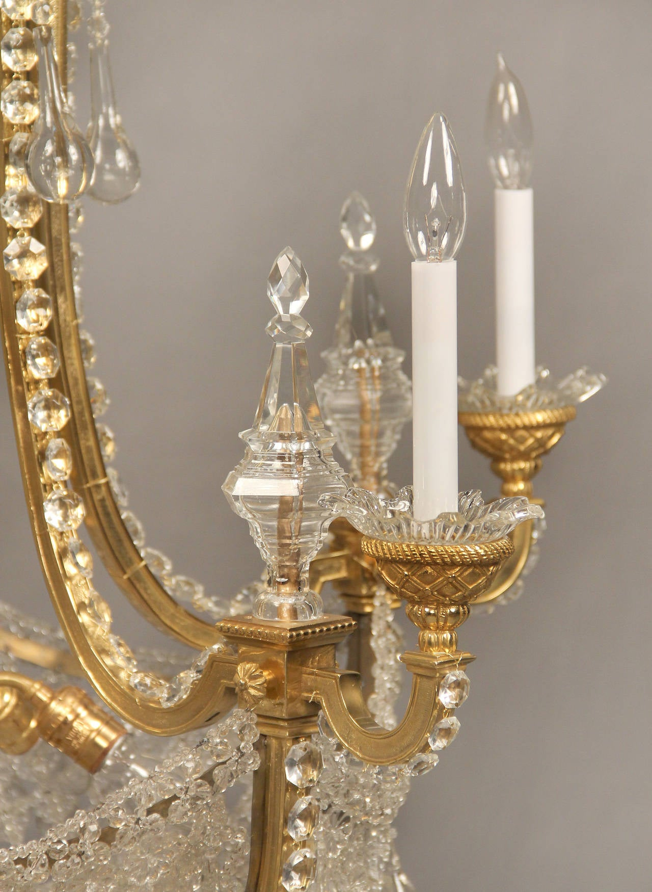 Belle Époque Wonderful Late 19th Century Gilt Bronze and Beaded Chandelier For Sale