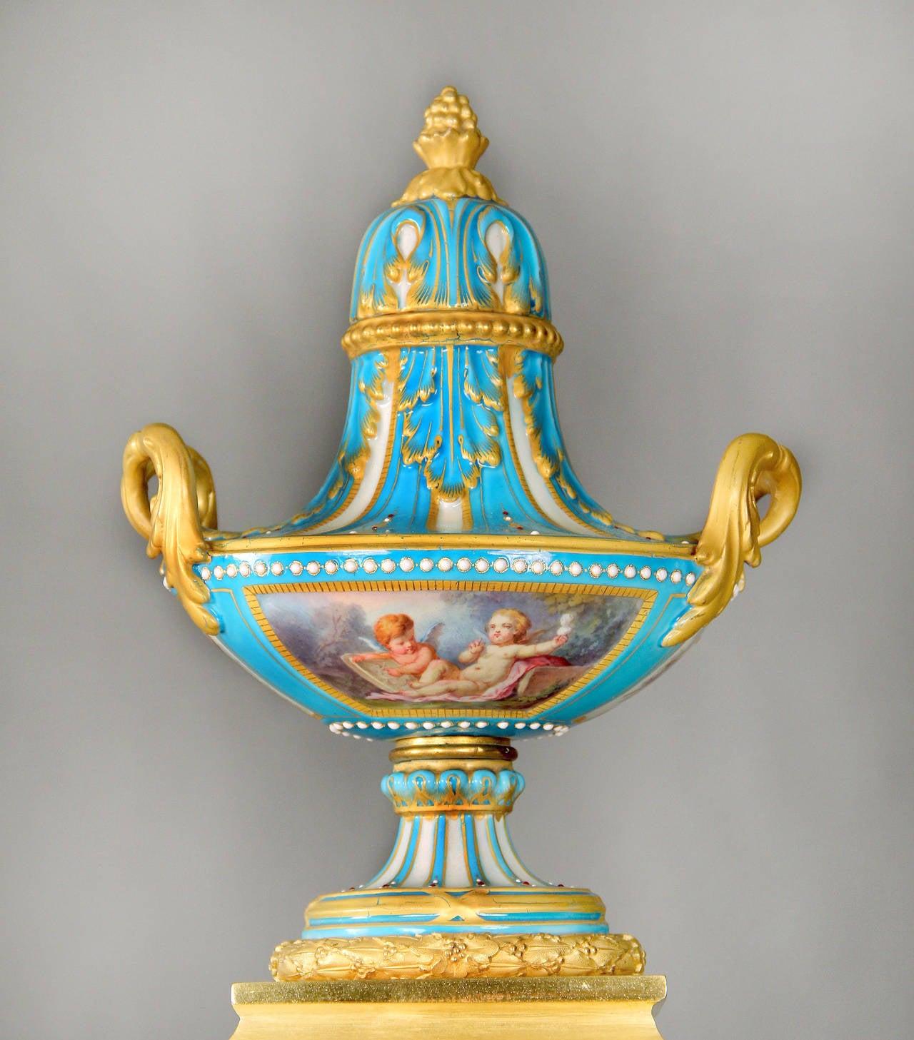 Belle Époque Sèvres Porcelain 'Jeweled' Three-Piece Clock Set by Raingo Frères For Sale