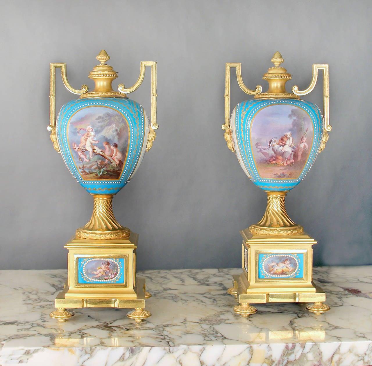 Gilt Sèvres Porcelain 'Jeweled' Three-Piece Clock Set by Raingo Frères For Sale
