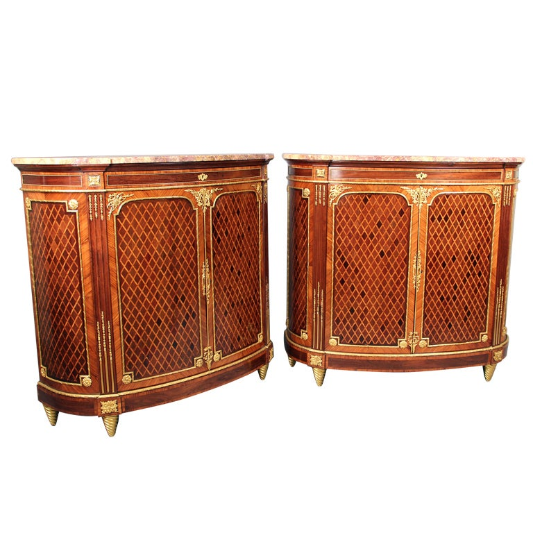 Wonderful Pair of Late 19th Century Gilt Bronze Mounted Parquetry Cabinets For Sale