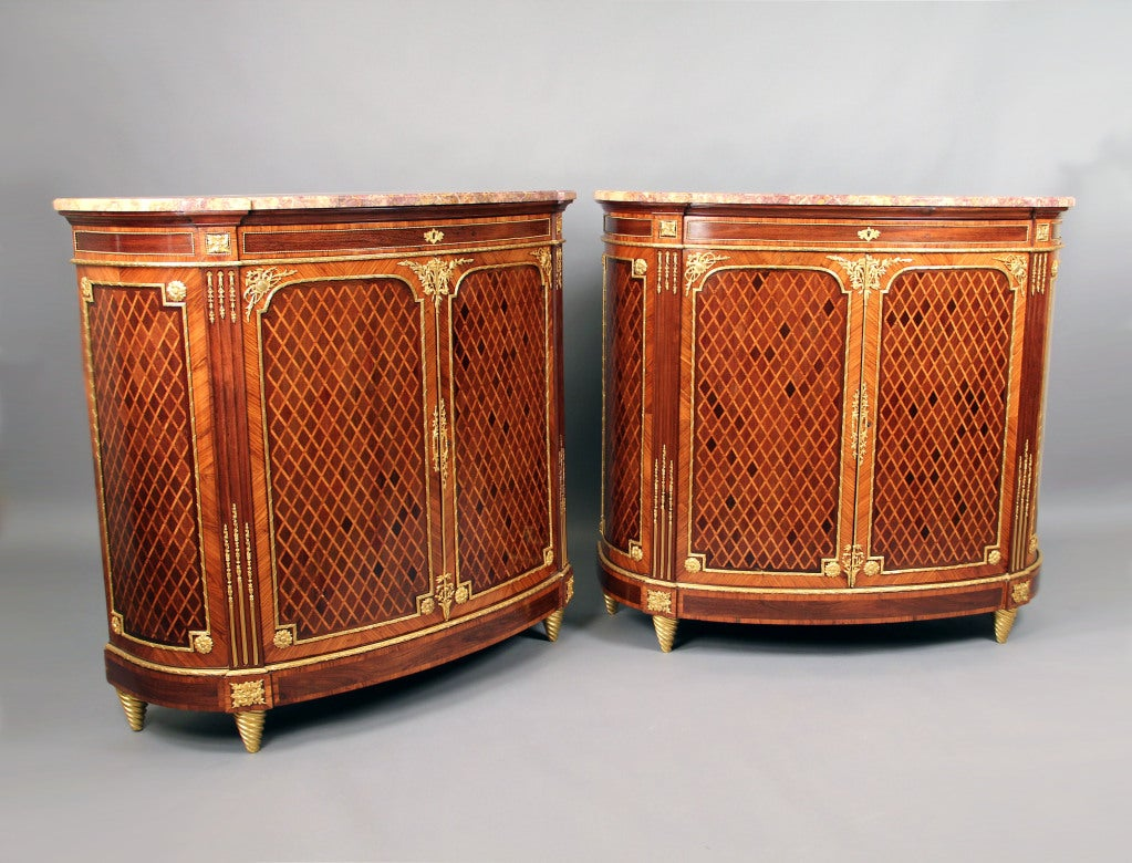 Wonderful Pair of Late 19th Century Gilt Bronze Mounted Parquetry Cabinets For Sale 2