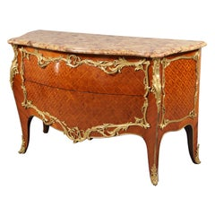 Late 19th Century Louis XV Style Gilt Bronze Mounted Parquetry Commode
