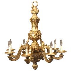 Late 19th Century Gilt Bronze Eight-Light Chandelier