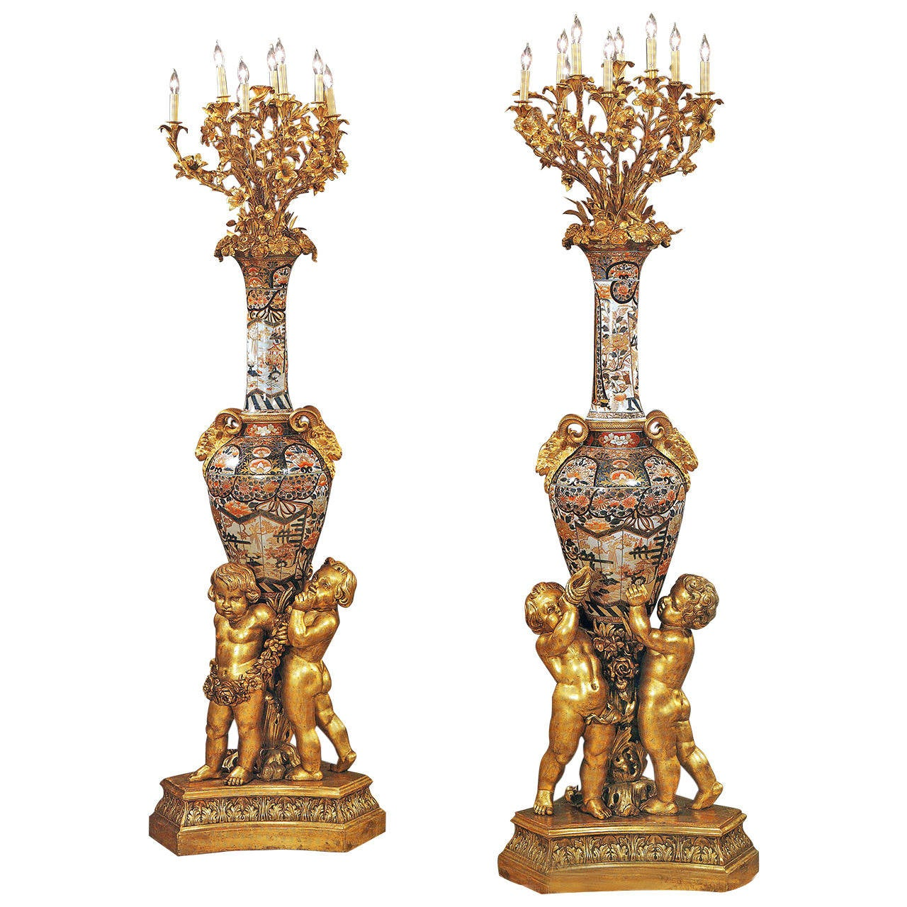 Large and Unique Pair of Mid-19th Century Imari Torchieres