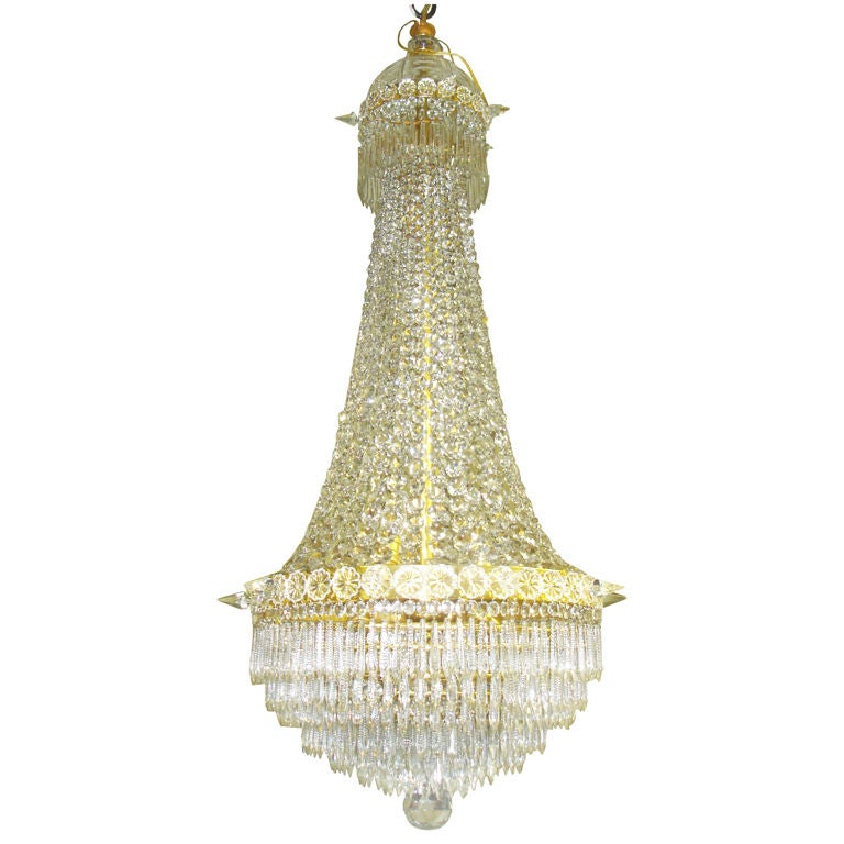 Baccarat Crystal and Bronze Chandelier