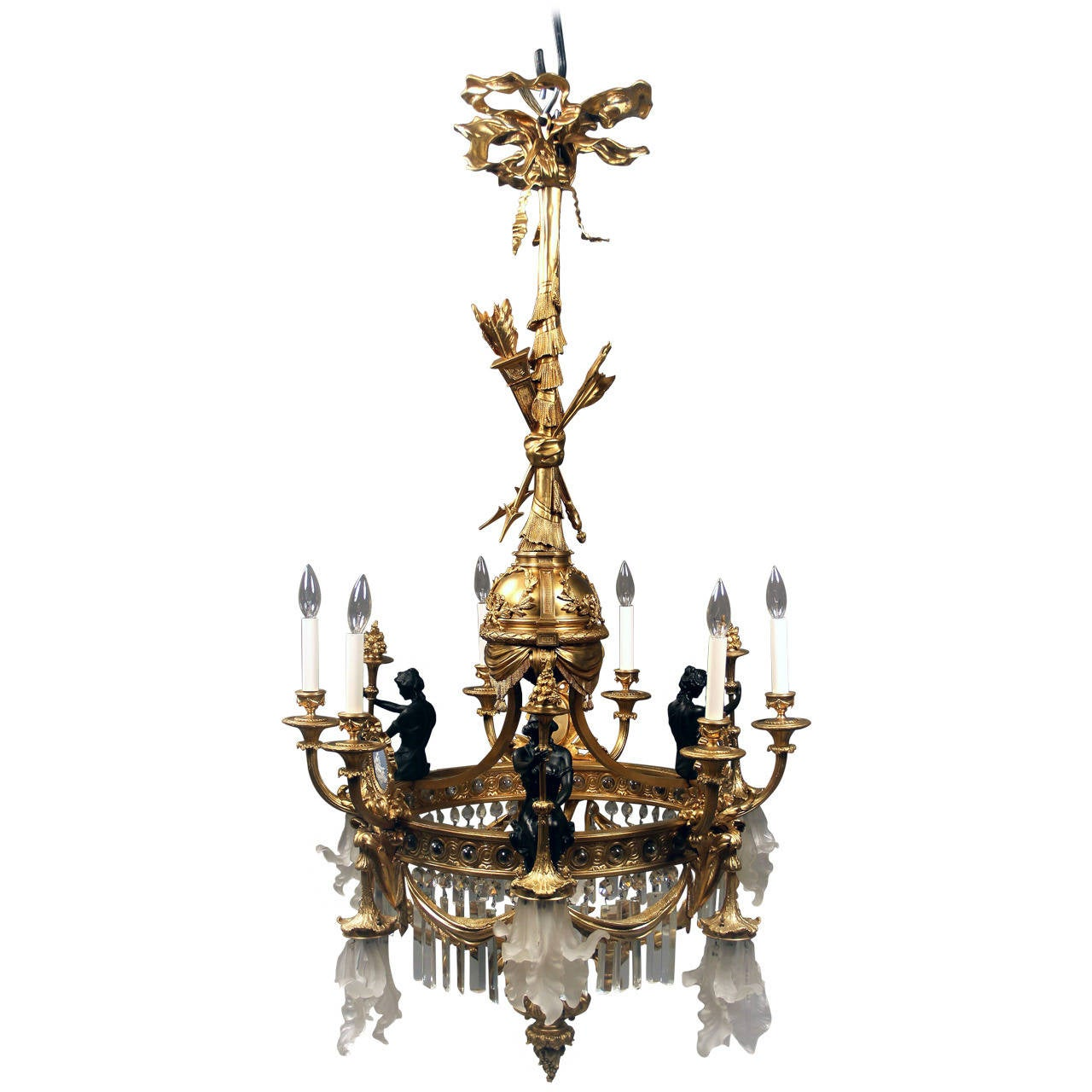 Unique Bronze Crystal And Wedgwood Porcelain Chandelier
