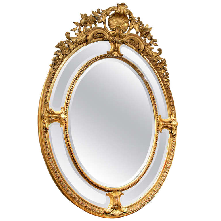 Stunning Late 19th Century Carved Giltwood and Gesso Mirror