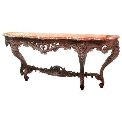Large and Important Late 19th Century Carved Oak Console Table