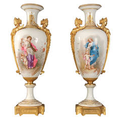 Rare Pair of Late 19th Century Gilt Bronze-Mounted Sèvres Vases