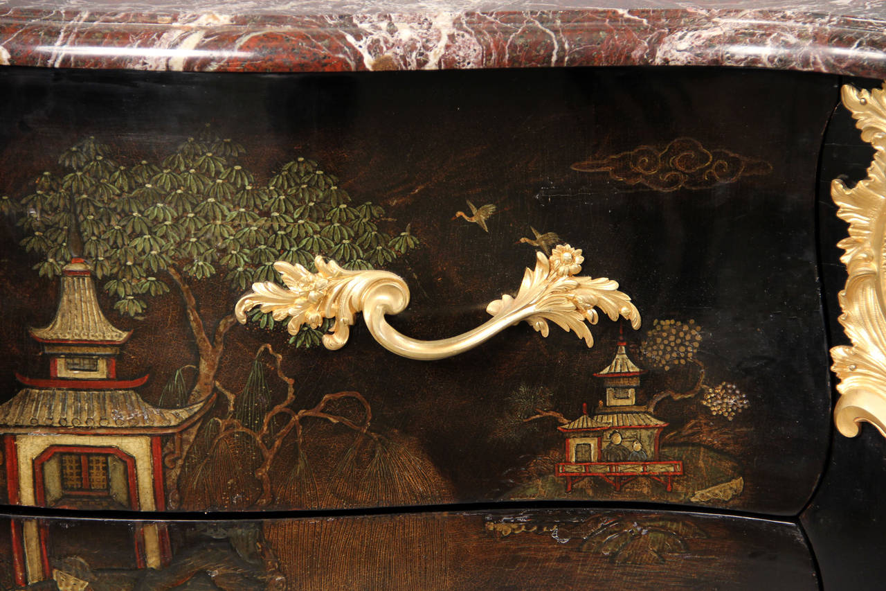 Belle Époque Exceptional Late 19th CenturyGilt Bronze-Mounted Lacquer Commode by Henry Dasson For Sale