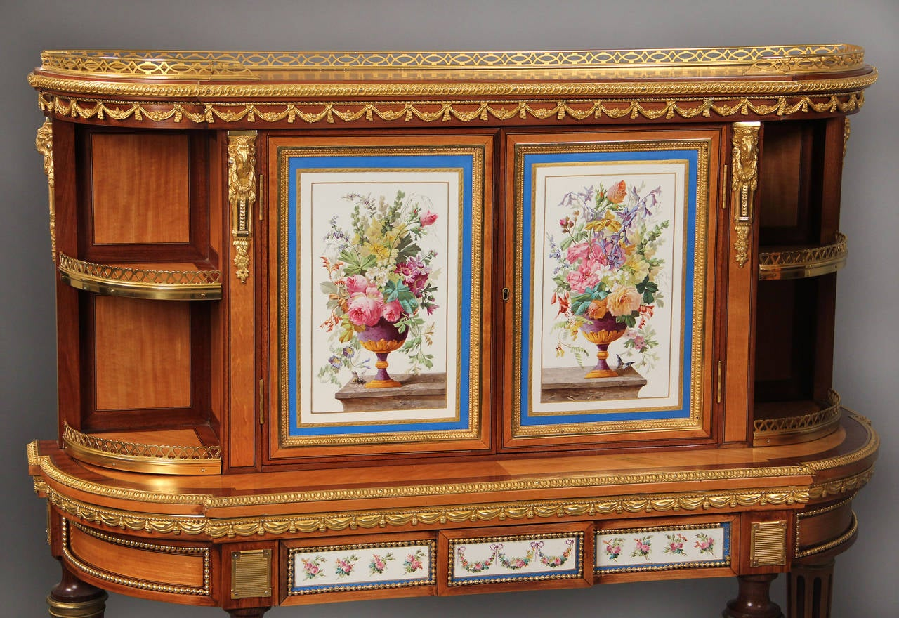 Belle Époque Fine Pair of Late 19th Century Bronze and Sevres Porcelain Cabinets by Gillows For Sale