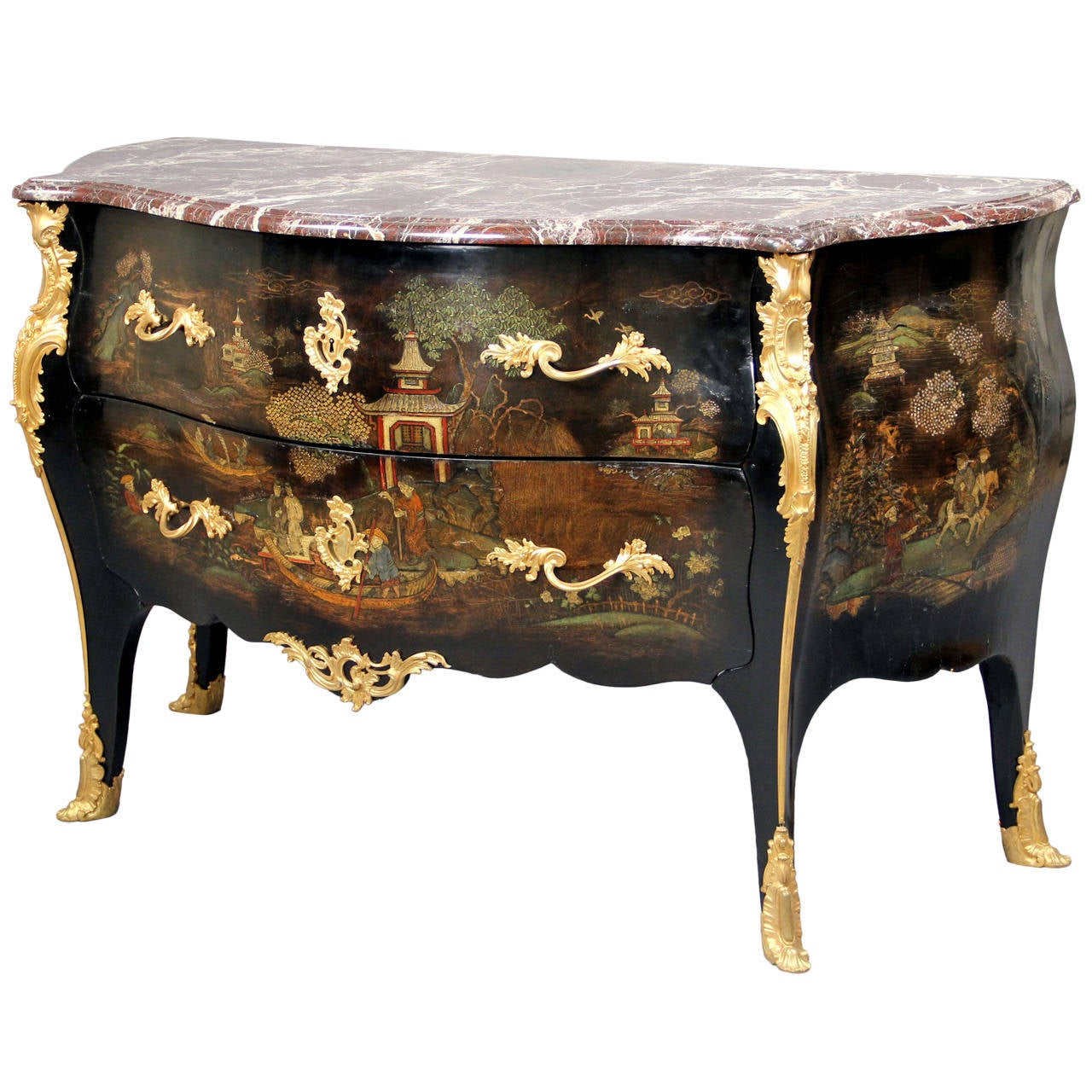 Exceptional Late 19th CenturyGilt Bronze-Mounted Lacquer Commode by Henry Dasson For Sale