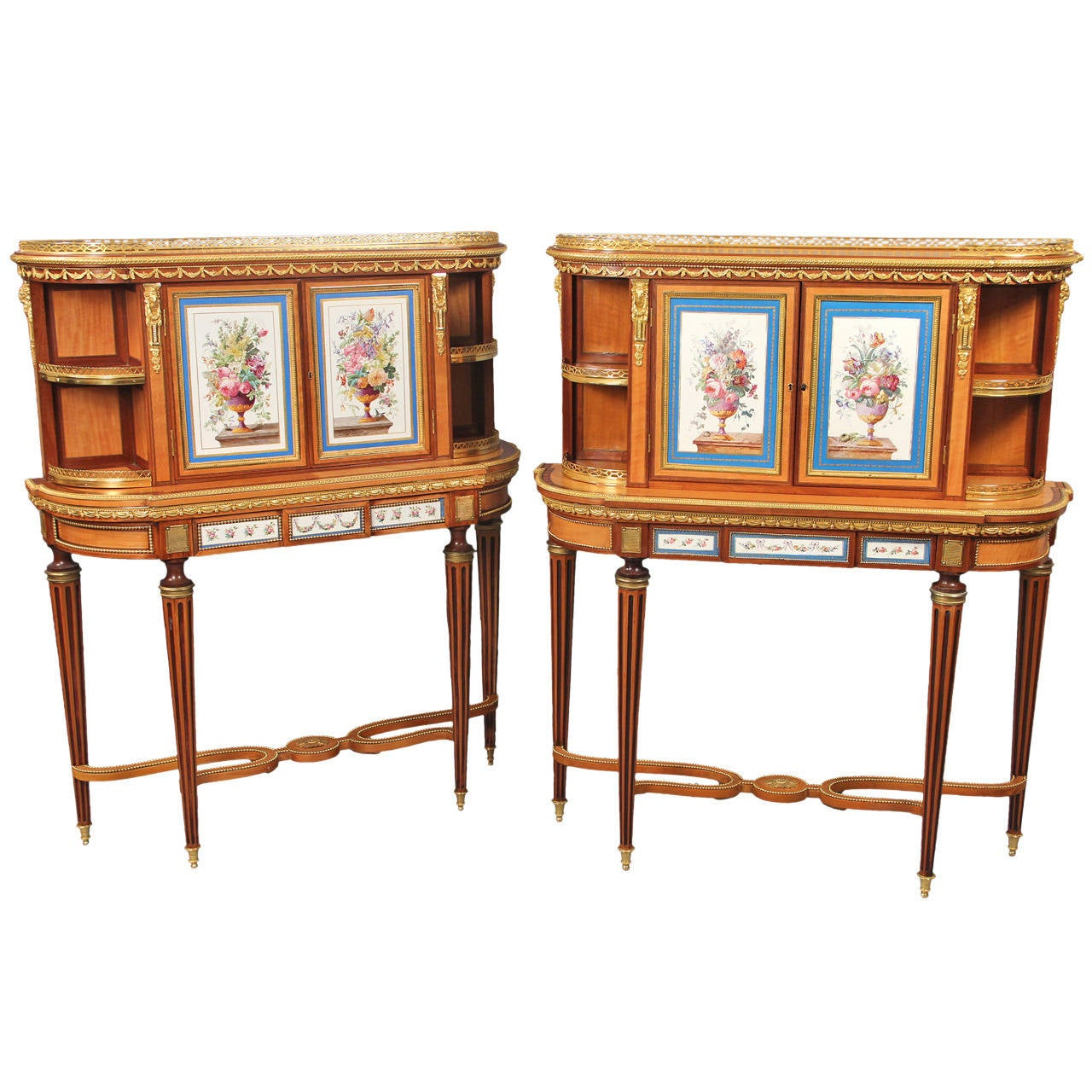 Fine Pair of Late 19th Century Bronze and Sevres Porcelain Cabinets by Gillows For Sale
