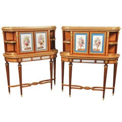 Fine Pair of Late 19th Century Bronze and Sevres Porcelain Cabinets by Gillows