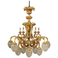 Unusual and Great Quality Early 20th Century Gilt Bronze Chandelier