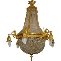 A late 19th century gilt bronze Empire Chandelier