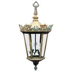 Pair Of Large 19th Century Bell Jar Lanterns With Diamond