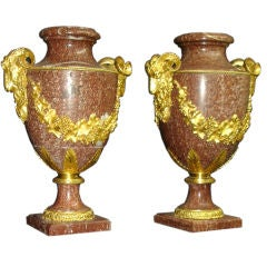 Large and Impressive Pair of Late 19th Century Gilt Bronze Mounted Urns