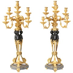 Pair of Late 19th Century or Early 20th Century Seven-Light Candelabra