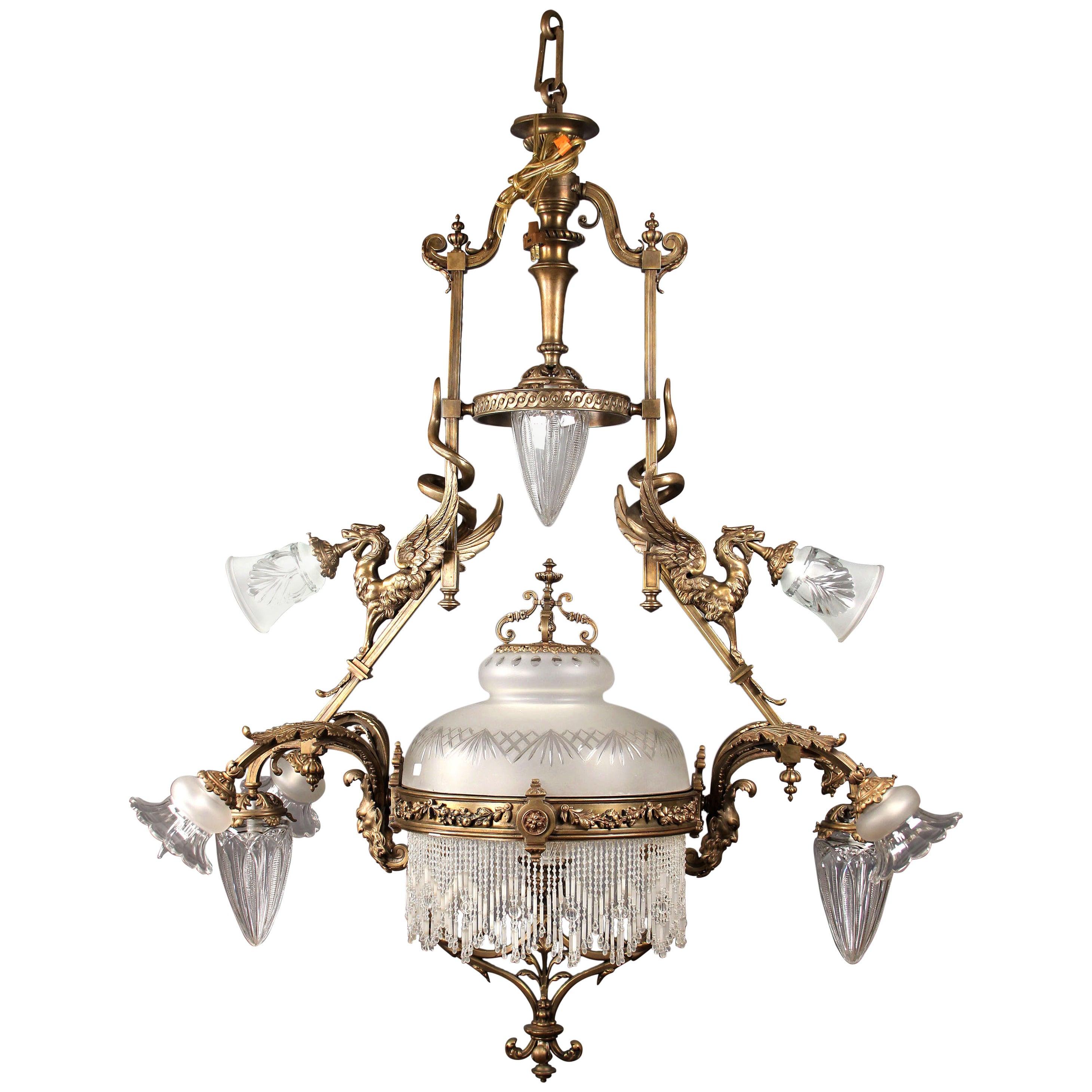 Fine Late 19th Century Gilt Bronze and Beaded Billiard Chandelier