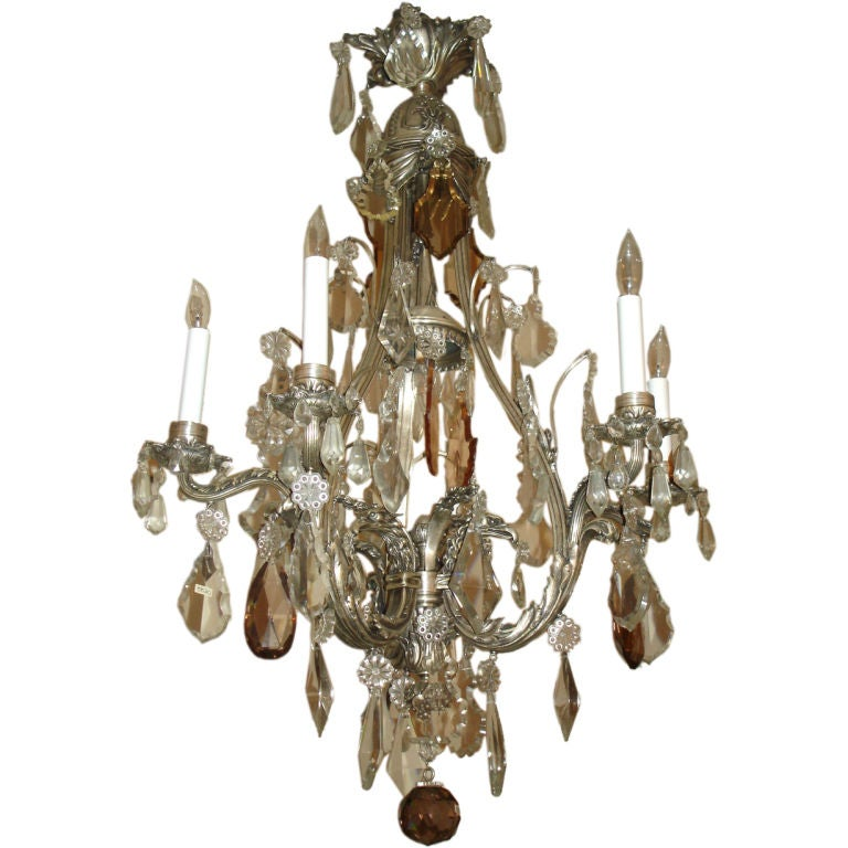 19th Century Silver Gilt Baccarat Crystal Chandelier At