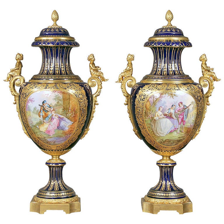 Wonderful Pair Of Late 19th Century Bronze Mounted Sèvres