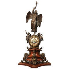 Important Late 19th Century Gilt and Patinated Bronze Mantel Clock