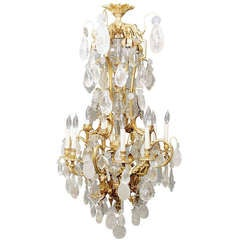 A Stunning 19th Century Gilt Bronze and Rock Crystal Chandelier