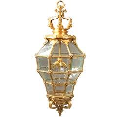Gilt Bronze and Glass 'Versailles' Hall Lantern