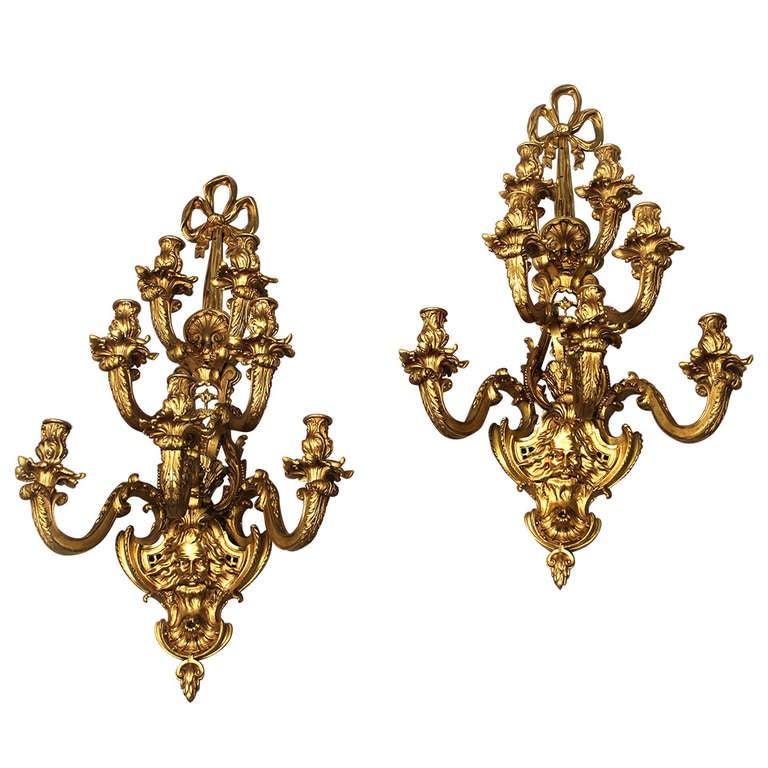 Pair of late 19th century gilt bronze sconces.