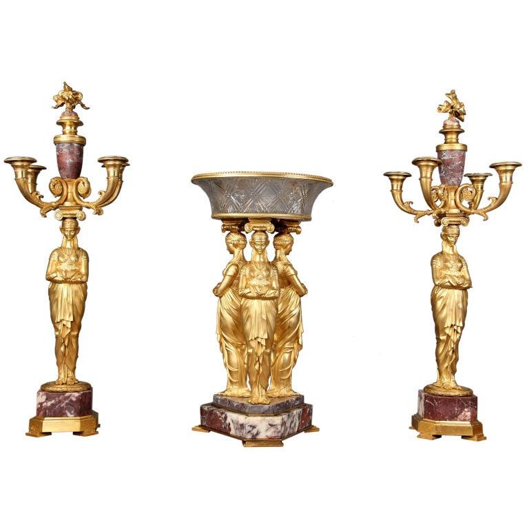 Wonderful 19th Century Three-Piece Empire Garniture